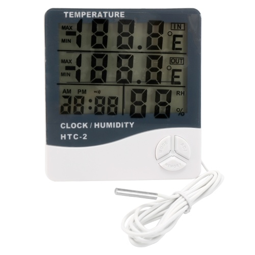 HTC-2 Indoor and Outdoor Large Screen Digital Display Temperature and Humidity Meter Time Calendar Alarm Thermometer and Hygrometer