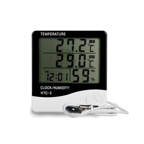 HTC-2 Indoor e Outdoor Grande schermo Display digitale Temperatura e umidità Meter Tempo Calendario Allarme Termometro e igrometro