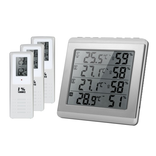 Termometro Igrometro Wireless Indoor / Outdoor LCD digitale a quattro canali