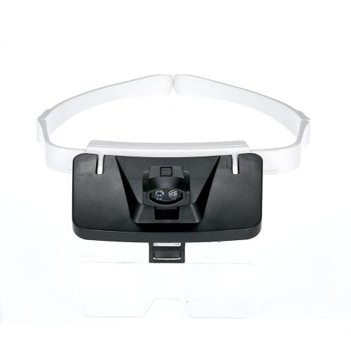 TH9203 Gafas de lupa con banda de cabeza Lupa de LED Lupa intercambiable Lupa 5 Lentes reemplazables 1.0X / 1.5X / 2.0X / 2.5X / 3.5X