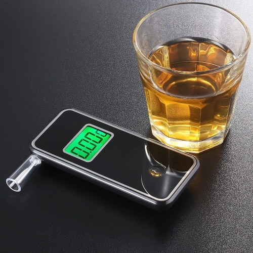 Professional Portable Digital Breath Alcohol Tester Blowing Type Alcohol Detector Breathalyzer with 5pcs Transparent Mouthpieces Digital Breathing Detector AT7700