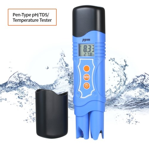 Pen-Type pH Meter TDS Meter Waterproof pH/TDS/Temperature Tester pH/TDS Meter Water Quality Analysis Device with Automatic Temperature Compensation ATC Function