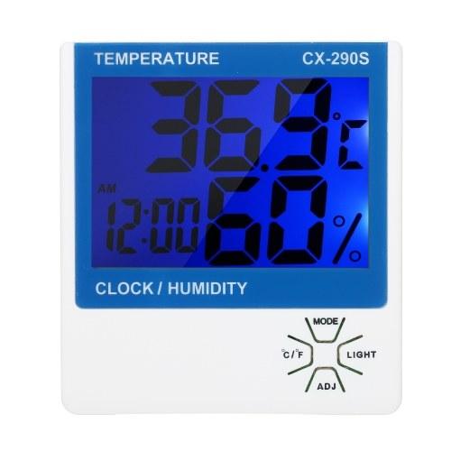 Calibro accurato del monitor dell'umidità LCD igrometro dell'interno digitale termometro igrometrico ℃ / ℉ misuratore di umidità di temperatura della sveglia Termo-igrometro con retroilluminazione