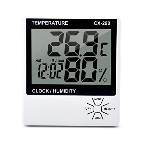 室内温度計湿度計LCDデジタル温度計湿度計部屋℃/℉温度湿度計メーター目覚まし時計MAX / MINメモリ付き温度湿度計