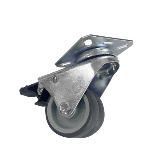 4шт двухколесные сверхмощные ролики Плоская пластина из цинкового сплава TPR Колесо рицинус колеса 2
