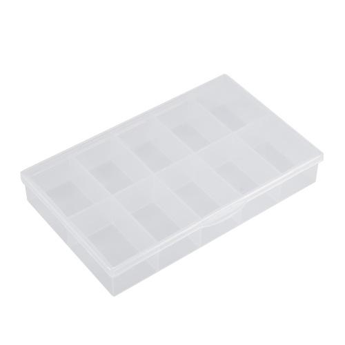 ポータブル透明ラスティックボックス10グリッド非取り外し可能な垂直パーティション要素収納ボックス