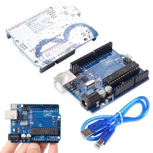 Arduino Uno R3 Development Board Compatible with Arduino IDE Projects,RoHS Complian,Kit Microcontroller Based on ATmega328 and ATMEGA16U2,with USB Cable