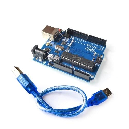 Arduino Uno R3-Entwicklungsplatine Kompatibel mit Arduino IDE-Projekten, RoHS Complian, Kit Microcontroller Basierend auf ATmega328 und ATMEGA16U2, mit USB-Kabel
