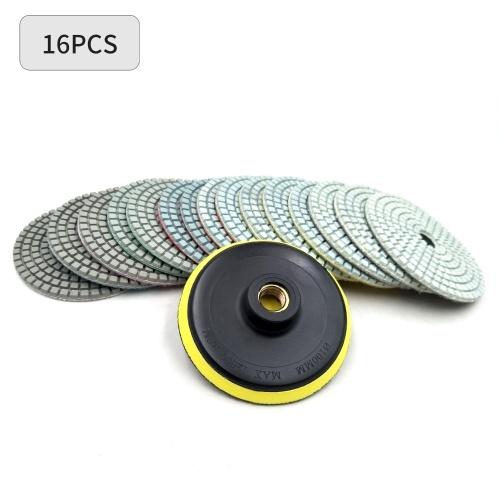 16шт алмазные полировальные колодки комплект 4 дюйма 100 мм мокрый / сухой для гранитного камня бетон мрамор полировка использовать шлифовальные диски комплект