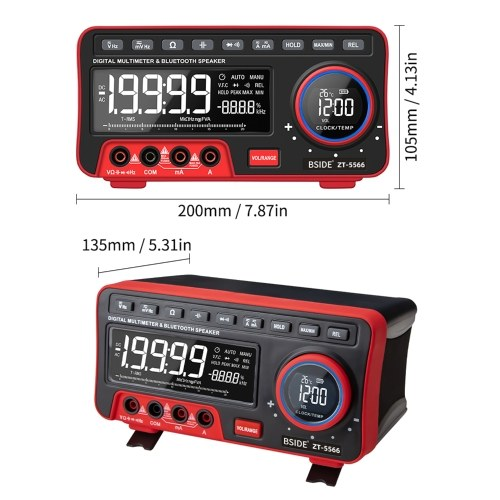 BSIDE 19999 Counts Multi-function Multimeter True RMS Digital Multimeter DC/AC Voltage and Current Meter with LCD Display Measuring AC/DC Voltage Frequency Resistance Capacitance Measure Continuity Duty Cycle with Clock Alarm Clock BT Audio Ambient Temper