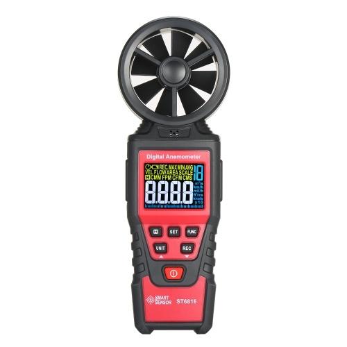 SMART SENSOR ST6816 Handheld Digital Anemometer Wind Speed Measurement Measurer Air Velocity Airflow Meter Gauge with LCD Backlight Measuring Range 0.40m/s~30.00m/s Maximum/Minimum/Average Value Storage Bag for Shooting(Batteries Not Included)