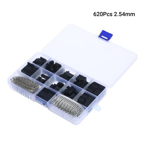 620Pcs 2,54 mm Überbrückungsdraht-Stiftleisten-Steckverbindergehäusesatz Stecker Buchsen Crimpstifte Elektronische Komponenten mit durchsichtigem Kunststoffgehäuse XH-2.54
