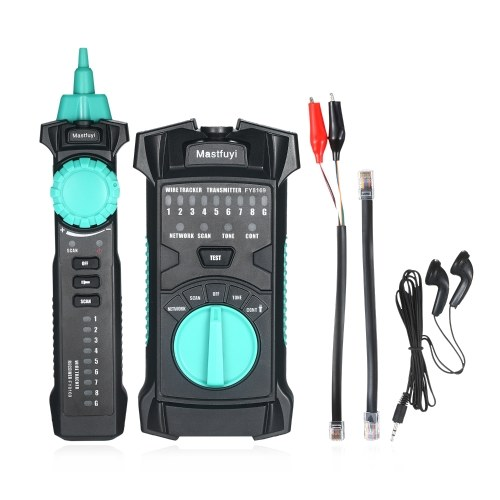 FUYI FY8169 Multifunction Wire Tracker Network Line Finder RJ11 RJ45 Cable Tester Cable Line Checker Telephone Line Tester Continuity Checking with Flashlight for Network Maintenance