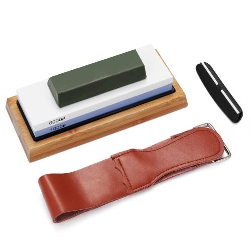 Afilador de piedra de afilar de corte de piedra de afilar de primera calidad 1000 # / 6000 # para todas las cuchillas afilador de cortador de base antideslizante
