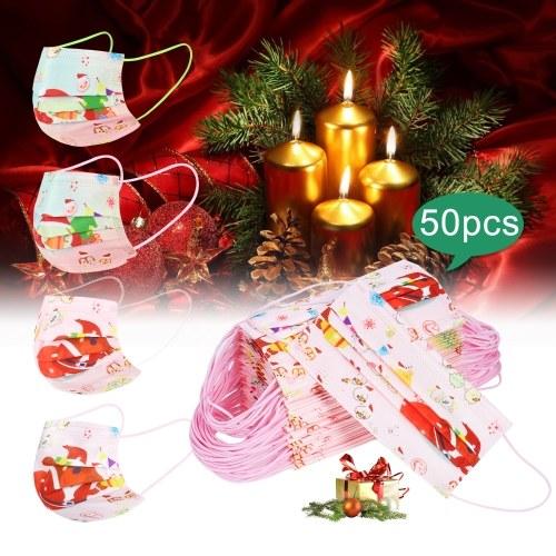 50 Stück Einweg-Weihnachtsmaske für Erwachsene 3-lagige Einweg-Gesichtsmasken mit Nasenclip und Ohrschlaufen Atmungsaktive Santa Print Design-Gesichtsmaske für Erwachsene und Jugendliche