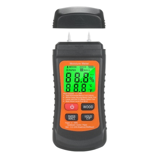 Wood Moisture Meter LCD Digital Damp Moisture Tester with Green Backlight Pin Type Water Leak & Moisture Detector with Wood & Paper & Wall 3 Modes Data Hold ℃/℉ Temperature Meter for Wood Wall Firewood Cardboard Building