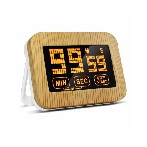 デジタルキッチンタイマー磁気カウントダウン時計大型ディスプレイタッチスクリーンカウントアップとダウンタイマー、調理用の格納式ブラケット付きキッズジムゲーム教室