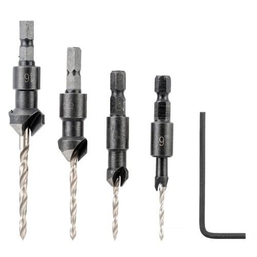 4 Pcs/set Professional Countersink Drill Bit Set with Quick Change Hex Shank High Speed Steel Carbon Steel Counter Bore Woodworking Tool