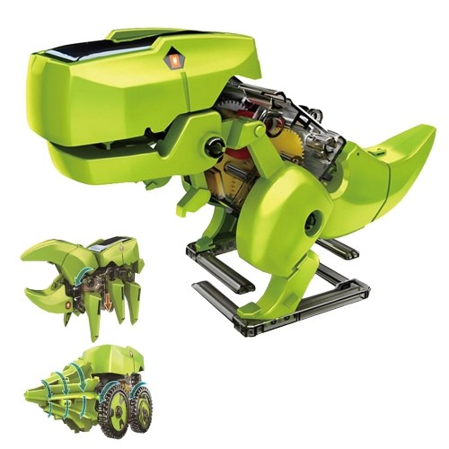 3 in 1 Solar Robot DIY Children Intelligence Solar Toy Solar Handmade Toy Set STEM Science Toy Scientific Physics Experiment Dinosaur Insect Drilling Machine Assembly Model