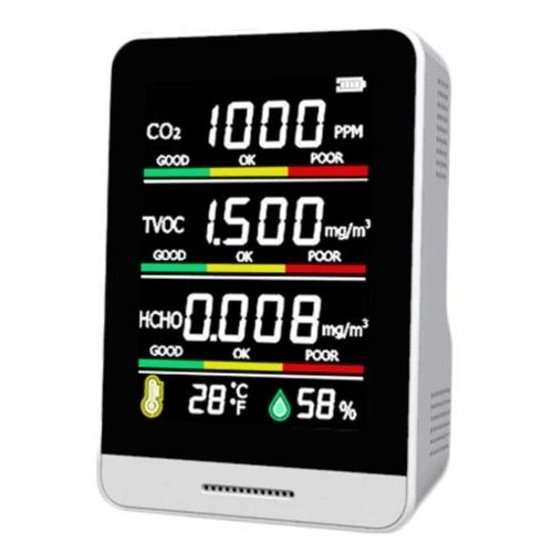 CO2検出器TVOCHCHO温度湿度検出ツールインテリジェントホームライフデスクトップ屋内屋外高精度クイック検出大気質モニター多目的検出ツール