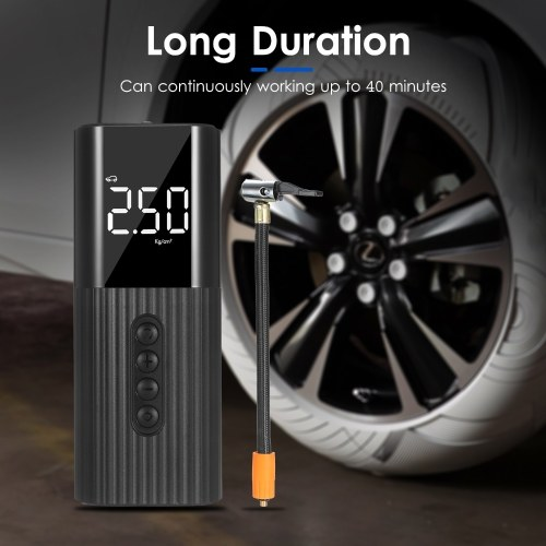 Multifunctional Digital Tire Inflator 5m/16ft Portable Car Air Pump with 3 Nozzles 4 Tire Pressure Modes 4 Pressure Units