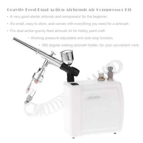 KKmoon New 100-240V Professional Gravity Feed Dual Action Airbrush Air Compressor Kit for Art Painting Makeup Manicure Craft Cake