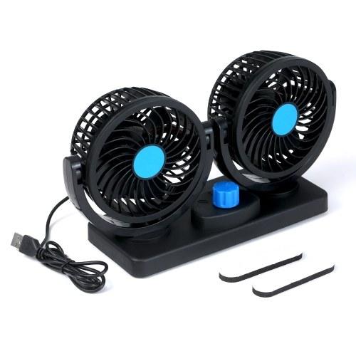 KKmoon 12 В с двумя головками USB-вентилятор Вращающийся на 360 градусов настольный вентилятор 6,5 Вт Мощный вентилятор для циркуляции воздуха