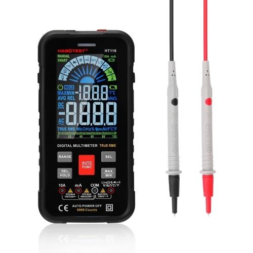 Multímetro portátil inteligente HABOTEST HT116 Pantalla grande a color VA 9999 cuentas con función Flashilight