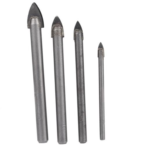 4pcs/set YG8 Triangular Glass Ceramic Drill High Quality Glass & Tile Drill Bit Set 4 6 8 10mm