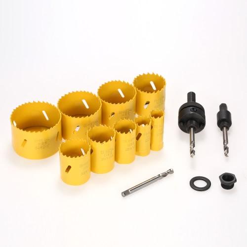 13pcs 19-64mm M42 HSS Bi-Metall-Lochsägen-Kit Bohrwerkzeug Arbor Pilotbohrer Set für Klempner Elektriker Carpenter