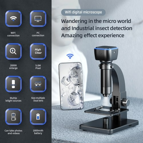 Portable Intelligent Digital Microscope 2000x Magnification Dual Lenses USB Rechargeable 5.0M Pixels High Clear