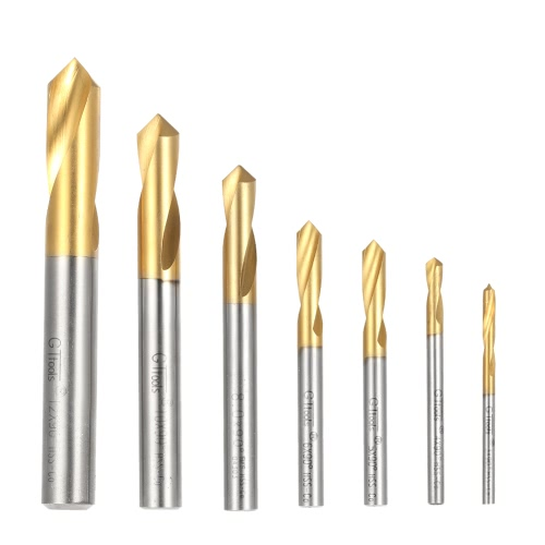 7pcs M42 HSS High Speed Steel Titanium Plated Spotting Drill Bits Set Round Shank 90 Degree Drilling Chamfering Tool