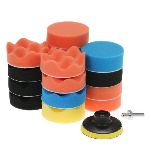 "19PCS 3 ""80mm Car Polishing Pads Espuma de enxame Buffing Pad Sponge Kit"