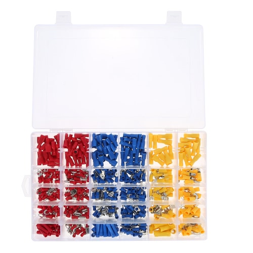 480PCS Assortiment de bornes isolées 13 types Ensemble de connecteur de câble électrique à sertir Butt Spade Ring Set de fourche Male Female