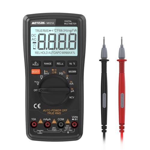 Meterk 6000はTrue RMSマルチファンクションデジタルマルチメータをカウントします。DMM電圧計NCV検出器を備えた抵抗器DC AC電圧電流計抵抗ダイオード容量静電容量周波数試験器温度hFE測定自動範囲連続性ライブライン試験HZ