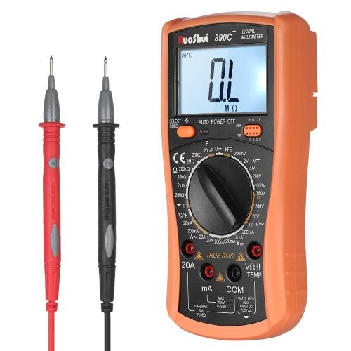RuoShui 1999 True RMS多機能デジタルマルチメータを数えますDC AC電圧メータを備えたDMM抵抗ダイオード容量静電容量テスタ温度hFE測定連続性テストバックライトLCDディスプレイ