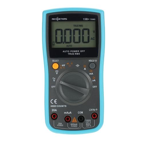 RICHMETES 15B + 6000 Counts Corriente de Voltaje AC de varios metros Corriente Ohmmetro Resistencia Diodo Capacidad Continuidad Intervalo Auto / Manual Medidor Digital