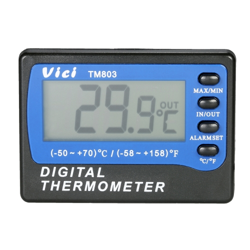 Vici Mini LCD Termômetro digital Medidor de temperatura Celsius Fahrenheit Grau em Out Geladeira Congelador Termômetro com Probe Max Min Value Display