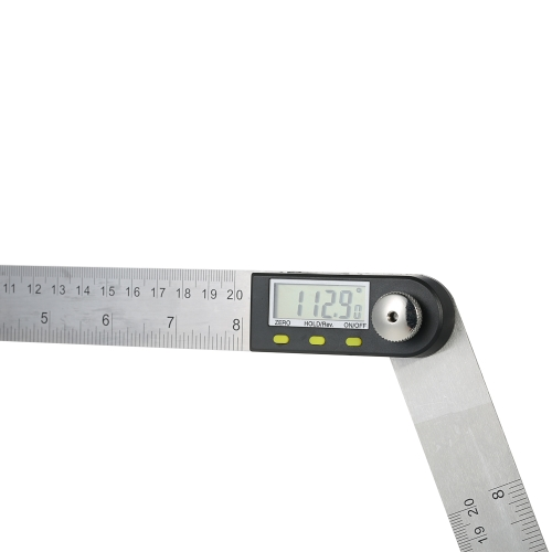 Image of 0-200mm / 8 Zoll Edelstahl Digital Winkelmesser Winkelsucher Lineal mit reversiblen Lesen Hold Funktion