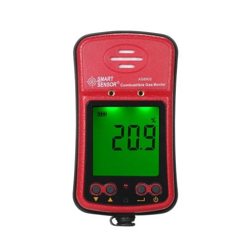 SENSOR INTELIGENTE Detector de Gas Combustible Profesional Industrial Portátil Digital de Mano Probador de Fugas de Gas Automotriz Sniffer de Gas con Pantalla LCD de Alarma de Vibración de Sonido y Luz 100-240 V