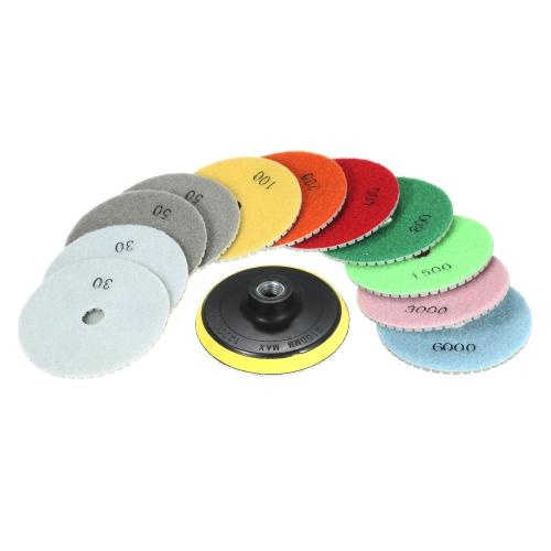 """11pcs 4 """"diamant humide tampons de polissage disque de meulage + 1 pc pad de soutien pour le béton de marbre de granit de pierre de granit"""