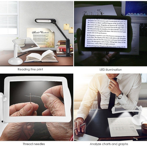 Handsfree 3X Reading Full-page Magnifier 2Led Magnifying Wallfire Loupe Glasses Desk Table Desktop Lamp Light