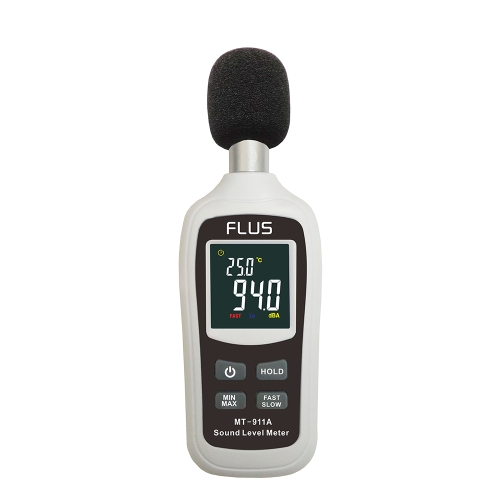 Mini Digital Sound Level Meters 30-130 dB Instrumentation Decibel Tester di monitoraggio della temperatura Palmare Noise Reader Tem Dosimetro con retroilluminazione Portable Audio Detector per uso domestico all'aperto