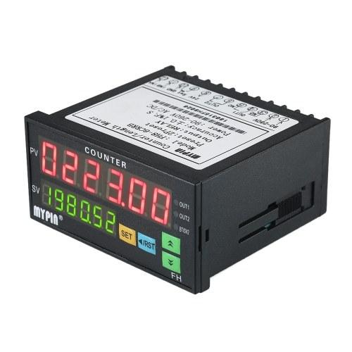 Contatore digitale multifunzione a doppio display LED 90 ~ 265V AC / DC Misuratore di lunghezza con 2 uscite a relè e impulsi PNP NPN