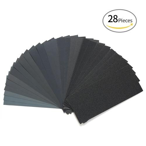 LANHU da 120 a 3000 Grit secco / carta vetrata bagnata per la finitura di mobili in legno Levigatura e lucidatura di metalli 9 * 3,6 pollici da 28 pollici