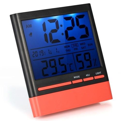 LCD Digital Indoor Thermometer Hygrometer Room ℃ / ℉ Temperatur-Feuchtemessgerät Wecker Thermo-Hygrometer mit Hintergrundbeleuchtung