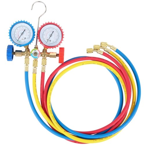 R134A R12 R22 R502 Current Divider Meter Tools Set Refrigerants Air Conditioning AC Diagnostic Manifold Gauges Double Table Valve with 3 Colors Hose