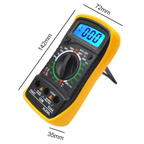 TOMTOP Portable Digital Multimeter Backlight AC/DC Ammeter Voltmeter Ohm Tester Meter XL830L Handheld LCD Multimeter