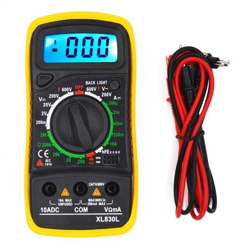 TOMTOPポータブルデジタルマルチメーターバックライトAC / DC電流計電圧計オームテスターメーターXL830LハンドヘルドLCDマルチメーター