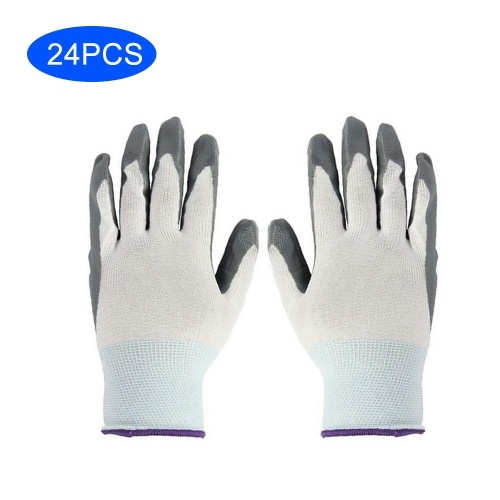Nylon Knit Nitrile Coated Work Gloves Wearproof Greaseproof Anti-Static Corrosion Alkali Acid Resistant Cut-Resistant Protective Working Gloves for Men Women 12 Pairs